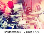 equipment  cables and piping as ... | Shutterstock . vector #718054771