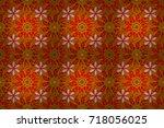 leaf natural pattern in orange  ...   Shutterstock . vector #718056025