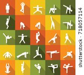 yoga pose icons set. flat... | Shutterstock .eps vector #718057114