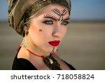 portrait of the girl of the... | Shutterstock . vector #718058824