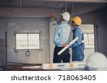 back view of hand's engineer... | Shutterstock . vector #718063405