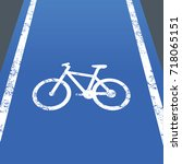 bike lane or bicycle road sign  | Shutterstock .eps vector #718065151