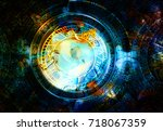 zodiac collage in cosmic space. ... | Shutterstock . vector #718067359
