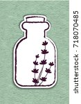 lavender essential oil logo.... | Shutterstock .eps vector #718070485