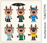 set funny deer in different... | Shutterstock .eps vector #718072795
