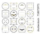black and golden empty circle...   Shutterstock . vector #718073971
