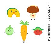 cute vegetables illustration. | Shutterstock . vector #718082737