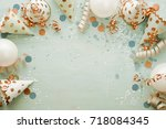 carnival theme of party hats... | Shutterstock . vector #718084345
