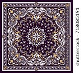 vector ornament paisley bandana ... | Shutterstock .eps vector #718085191