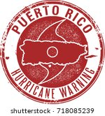 puerto rico hurricane warning... | Shutterstock .eps vector #718085239