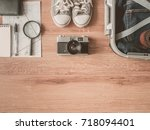 top view of travel concept with ... | Shutterstock . vector #718094401