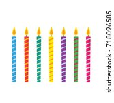 birthday candles vector set ... | Shutterstock .eps vector #718096585