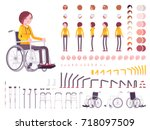female young wheelchair user... | Shutterstock .eps vector #718097509
