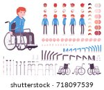 male young wheelchair user... | Shutterstock .eps vector #718097539