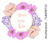 floral greeting card with...   Shutterstock .eps vector #718098715