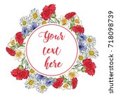 floral greeting card with...   Shutterstock .eps vector #718098739