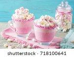 unicorn hot chokolate and... | Shutterstock . vector #718100641