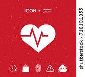 heart with ecg wave  ... | Shutterstock .eps vector #718101355