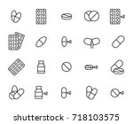 premium set of pills line icons.... | Shutterstock .eps vector #718103575
