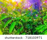 green leaves concept   abstract ...   Shutterstock . vector #718103971