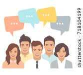 smile people group  business...   Shutterstock .eps vector #718104199
