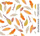 watercolor seamless pattern... | Shutterstock . vector #718110241