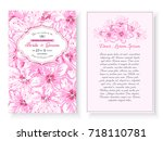 Stock vector vintage floral background wedding card or invitation with frame and cherry blossoms spring flower 718110781
