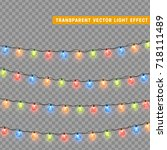 christmas lights isolated... | Shutterstock .eps vector #718111489