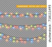 christmas lights isolated... | Shutterstock .eps vector #718111495