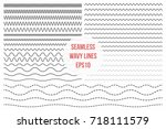 Wavy lines set. Horizontal seamless thin zig zag, criss cross and wavy lines for brushes. Vector design elements | Shutterstock vector #718111579