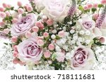 wedding bouquet with pink roses ... | Shutterstock . vector #718111681