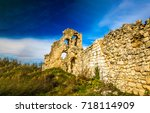 ancient stone wall landscape   Shutterstock . vector #718114909