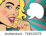 sexy blonde pop art woman with... | Shutterstock .eps vector #718115275
