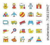 kids toys color icons set.... | Shutterstock .eps vector #718115947