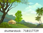 a lonely hut in the middle of... | Shutterstock .eps vector #718117729