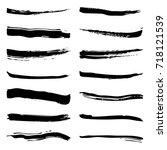 black vector brush shape... | Shutterstock .eps vector #718121539