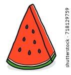 pieces of watermelon   cartoon... | Shutterstock .eps vector #718129759