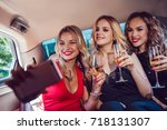 pretty women having party in a... | Shutterstock . vector #718131307