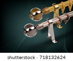 curtain rod and accessories | Shutterstock . vector #718132624