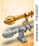 curtain rod and accessories | Shutterstock . vector #718132627