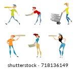 vector illustration of six... | Shutterstock .eps vector #718136149
