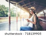 happy female tourists in the... | Shutterstock . vector #718139905