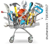 vector supermarket trolley with ... | Shutterstock .eps vector #718145017