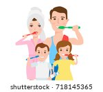 happy family cleaning teeth... | Shutterstock .eps vector #718145365