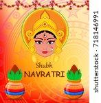 happy navratri raster... | Shutterstock . vector #718146991