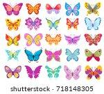set of cartoon butterflies.... | Shutterstock .eps vector #718148305