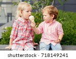 group portrait of two white... | Shutterstock . vector #718149241