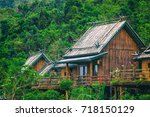 Wooden Bamboo House In The...