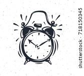 Hand Drawn Alarm Clock Isolate...
