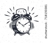 hand drawn alarm clock isolated ... | Shutterstock .eps vector #718150381